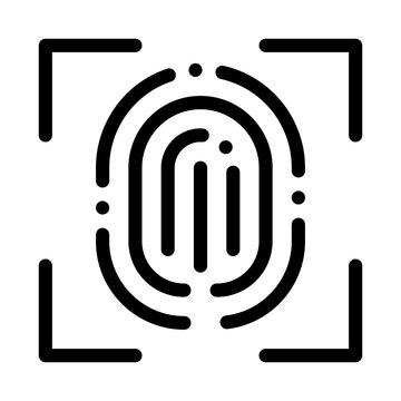 Scan Fingerprint Close-up Icon Vector. Outline Scan Fingerprint Close-up Sign. Isolated Contour Symbol Illustration