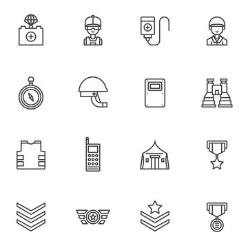 Military line icons set. Army forces linear style symbols collection, outline signs pack. vector graphics. Set includes icons as helmet, binoculars, fighter jet pilot, body armor, military rank, medal
