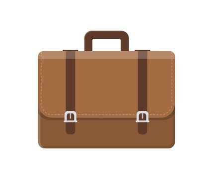 business Briefcase with lock icon isolated on white background. vector illustration in flat style