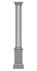 3D gray marble column on a white background