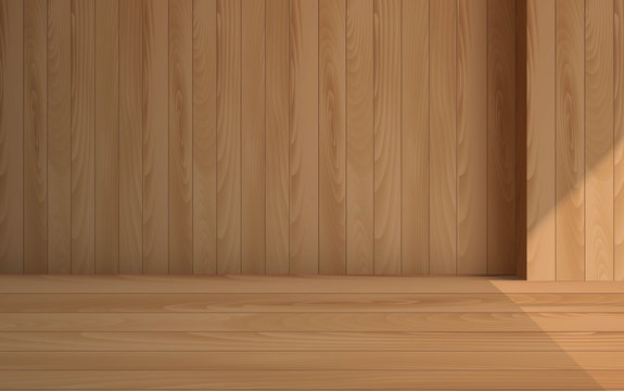 wooden floor with wooden wall in the room