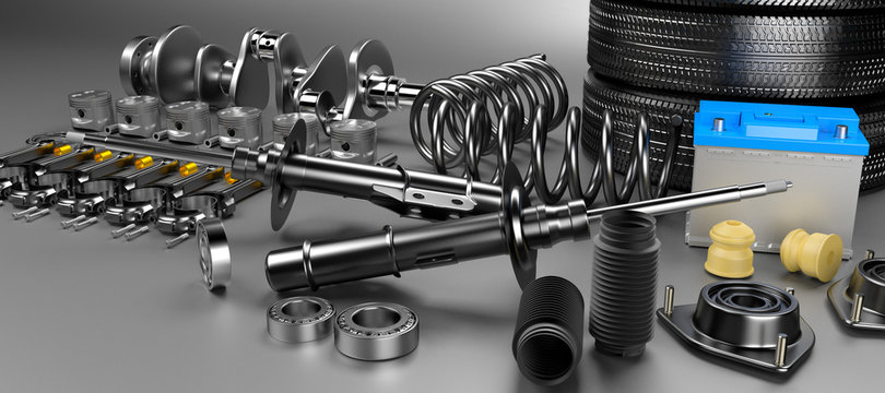 Auto parts spare parts car on the grey background. Set with many new items for shop or aftermarket. Auto parts for car. 3D rendering