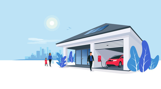 Electric car parking charging at smart house garage wall box charger station stand at family home. Renewable energy storage with solar panels and city skyline in background. Vector illustration.