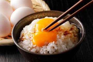 卵かけご飯 Raw egg on white rice, Japanese food