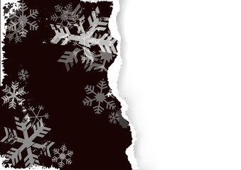 Black grunge stylized torn paper christmas background with snowflakes.  llustration of torn paper template. Place for your text or image. Vector available.