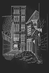 Wall Mural - Vector sketch of street scene with traditional architecture in Bruges, Belgium
