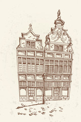 Wall Mural - Vector sketch of street scene with traditional architecture in Ghent, Belgium