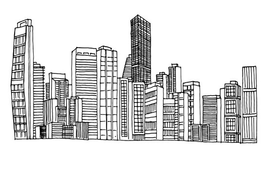 vector sketch of cityscape of Maiami, USA.
