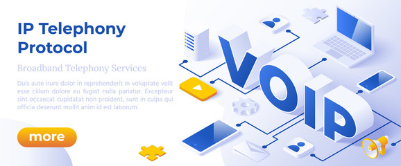 VOIP IP Telephony Services - Isometric Vector Concept Illustration. Voice Over IP or Internet Protocol Technology Background or Landing Page. Network Phone Call Software.