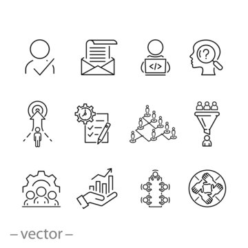 outline business career employee icon set, job corporate hiring, work professional  leadership, team recruit, candidate search, vector thin line web symbols on white background