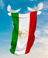 Tajikistan flag carried by white pigeon with sky background