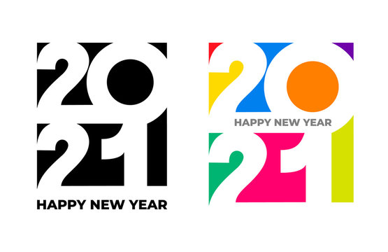 Happy New Year 2021 text design. Set of cover of business diary for 2021 with wishes colored, black and white. Brochure design template, card, banner. Vector illustration. Isolated on white background