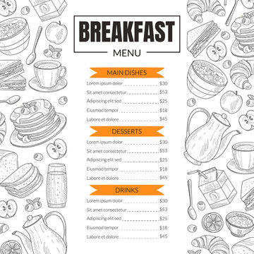 Breakfast Menu Template Design for Restaurant with Hand Drawn Food Items