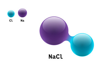 Chemistry model salt molecule diatomic sodium chlorine NaCl scientific element formula. Integrated particles inorganic 3d molecular structure consisting. Two volume atom combination vector spheres