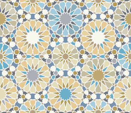 Islamic seamless pattern, zellige ornament.