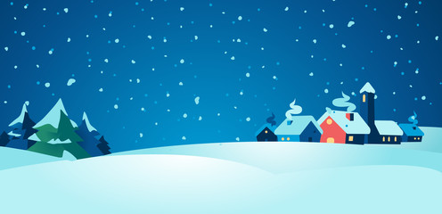 Winter village at night background christmas illustration - Vector