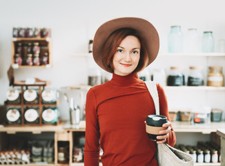 Young woman in zero waste shop.