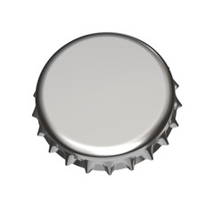 Metallic Crown Cap Isolated on White Background Close-Up. 3D Render Isolated on White.