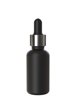 Matte Black Cosmetic or Medicine Dropper Bottle with Metallic Cap. 3D rendered Mock Up Isolated on White Background.
