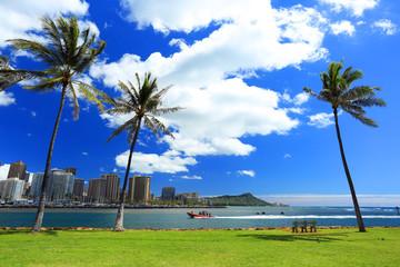 ザ・ハワイ アラモアナビーチパークから見たワイキキ