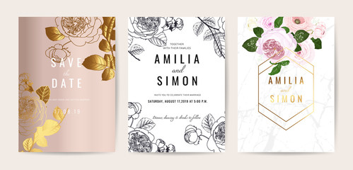 Wall Mural - Luxury Wedding invitation cards with english rose and marble collection. design for cover, menu, RSVP and save the date cars vector template.