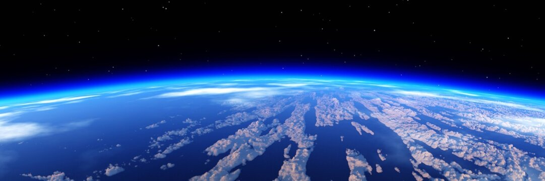 Heaven, panorama of the cloud, flying in the clouds, the earth from orbit. 3d rendering.