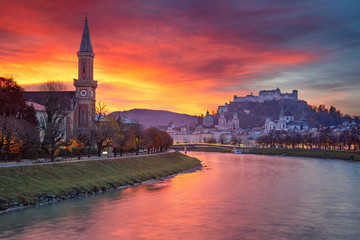 Salzburg, Austria. Cityscape image of the Salzburg, Austria with Salzburg Cathedral during beautiful autumn sunrise.