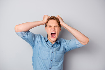 Oh no. Outraged sad man student made mistake in his report feel exhausted lose temper yell hold...