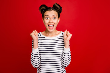 Portrait of crazy funky girl hear lottery win news raise fists scream wow omg wear good looking...