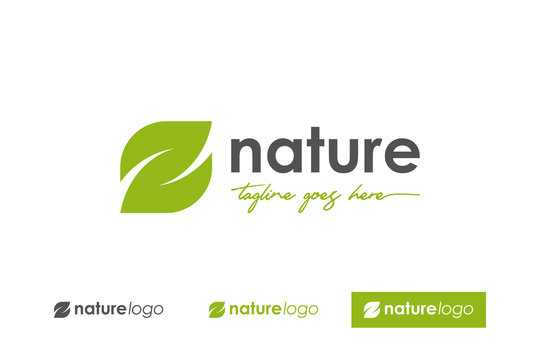 Green Nature Logo. Abstract Leaf symbol letter E and Z Vector Logo Design Template Element