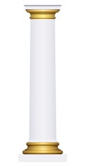 3D white and gold column on a white background