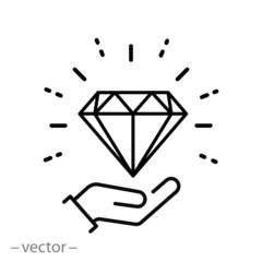 diamond gem in hand icon, luxury crystal or brilliant, outline jewel, thin line web symbol on white background - editable stroke vector illustration eps10