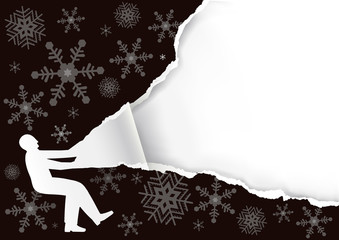 Christmas Paper Background, banner template. Paper male silhouette  tearing black paper with snowflakes. Place for your text or image. Vector available.