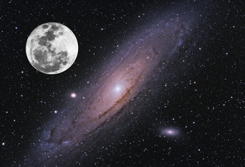 Fantasy composition, with Moon in full phase and our neighbor Andromeda galaxy. Isolated in starry background from deep space.