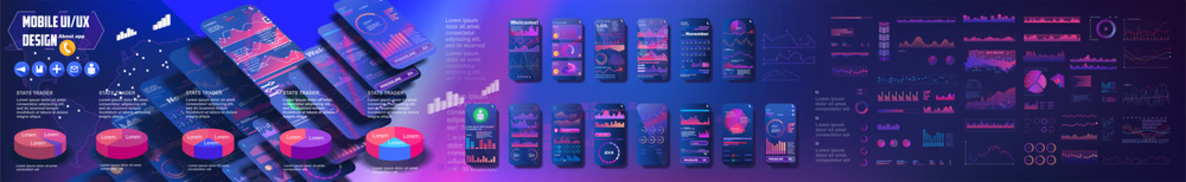 UI, UX, GUI mobile screens modern infographic. Diagram template and chart graph. Flat web icons for mobile apps. Web design and mobile template.