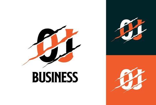 Orange black tiger OJ letter template logo design with scratch effect