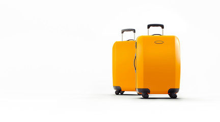 3d travel suitcase on white background