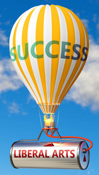 Liberal arts and success - shown as word Liberal arts on a fuel tank and a balloon, to symbolize that Liberal arts contribute to success in business and life, 3d illustration