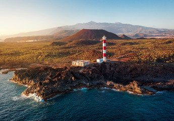 Papiers peints Iles Canaries View from the height of the lighthouse Faro de Rasca at sunset on Tenerife, Canary Islands, Spain. Wild Coast of the Atlantic Ocean