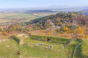 Panorama towards the Bardzkie Mountains seen from the observation deck on the Donjon of the Srebrna Góra Fortress in the Sowie Mountains