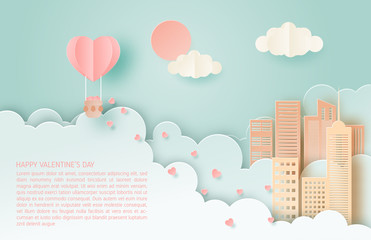 Illustration of love. Valentine's day concept. Honeymoon travel. Paper art made full heart in hot air balloon floating over city.