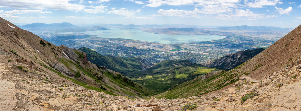 Utah county with Utah lake panorama from the summit of mountain Timpanogos