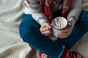 cropped view of woman in warm sweater holding cup of cocoa with marshmallow and sitting on blanket
