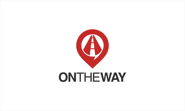 Combination logo from maps and the way logo design concept