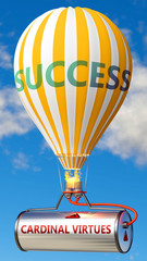 Cardinal virtues and success - shown as word Cardinal virtues on a fuel tank and a balloon, to symbolize that Cardinal virtues contribute to success in business and life, 3d illustration