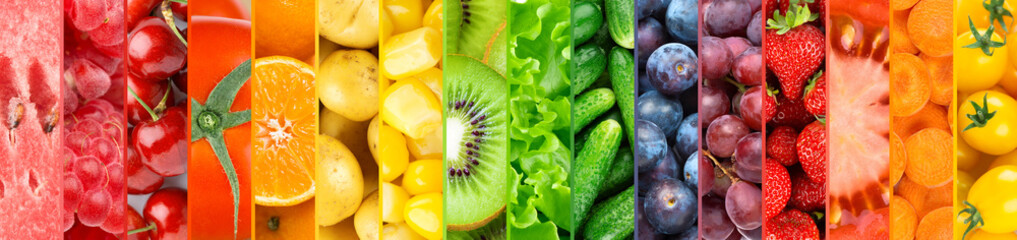 In de dag Keuken Background of fruits, vegetables and berries. Fresh color food. Healthy lifestyle