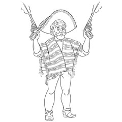 coloring page with retro bandit or gangster