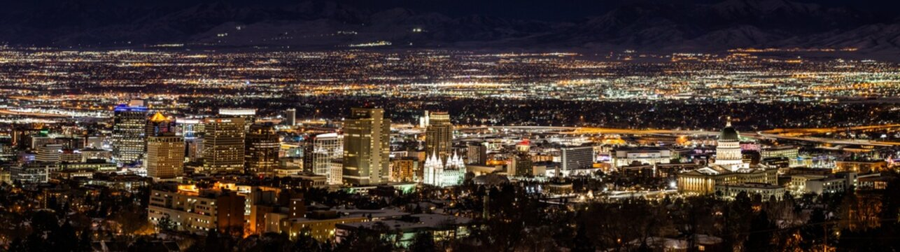 Night lights Panorama of Salt Lake City, Utah