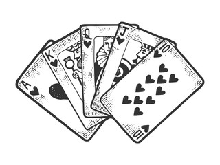Poker Royal flush winning combination of cards sketch engraving vector illustration. T-shirt apparel print design. Scratch board style imitation. Black and white hand drawn image.