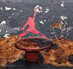 Jumpman logo by Nike on the old basketball backboard